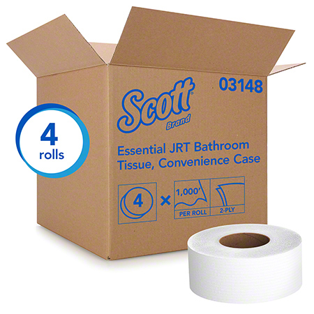 03148 KC SCOTT JRT JUMBO ROLL TISSUE, 2PLY, 4 X 1000FT/CASE