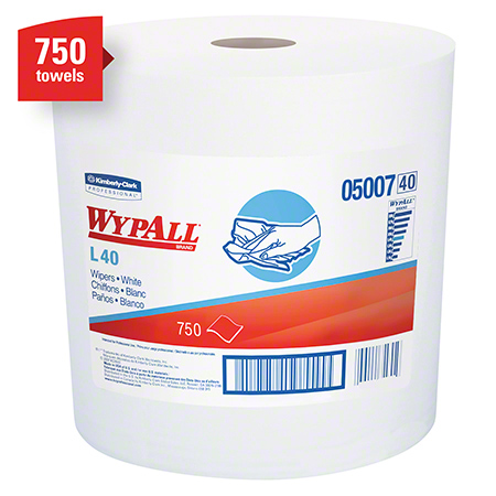05007 WYPALL L40 WIPERS, WHITE 12.5X13.4″ JUMBO ROLL-750SH