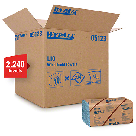 "05123 WYPALL L10 WINDSHIELD TOWELS 9.1 X 10.25"""" 10 X 224/CS"