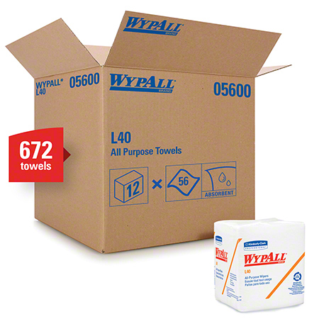 "05600 WYPALL L40 WIPERS - WHITE 12.5X14.4""""-12X56 SHEETS-1/4"