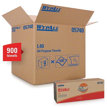 "05740 WYPALL L40 WIPERS - BLUE 9.8X16.4""- 9X100-POP UP BOX"