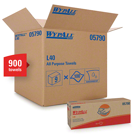 "05790 WYPALL L40 WIPERS WHITE 9.8 X 16.4"" 9 PKG X 100/CS POPUP"