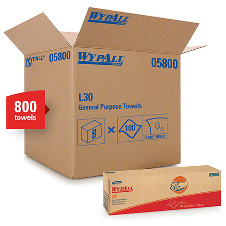 "05800 WYPALL L30 WIPERS WHITE 9.8"" X 16.4"" 8X100/CS POP UP BOX"