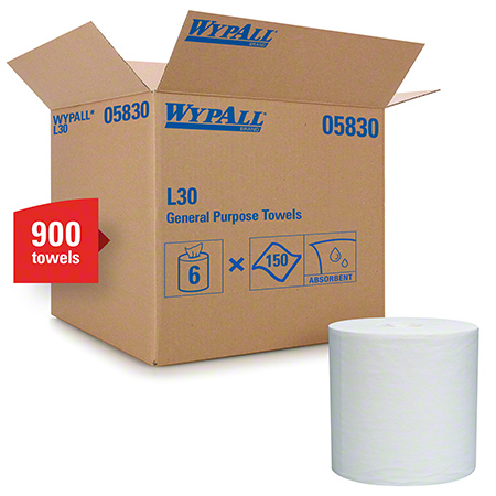 "05830 WYPALL L30 WIPERS WHITE 8 X15"" 6X150/CS"