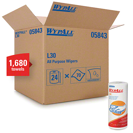 "05843 WYPALL L30 WIPERS -WHITE 11X10.4"" 24X70/CS"