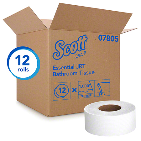07805 SCOTT JUMBO BATHROOM TISSUE 2 PLY,12 RLS X 1000