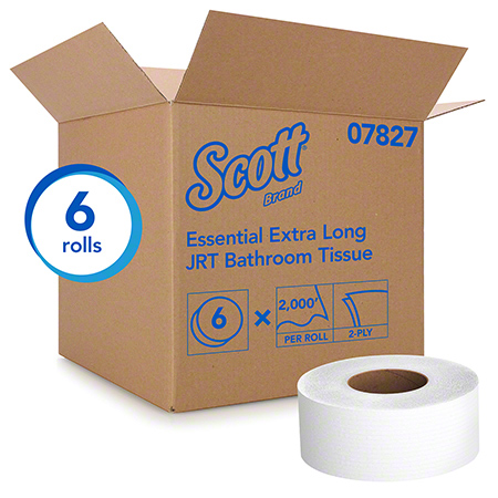 07827 SCOTT JUMBO BATHROOM TISSUE 2 PLY, 6 ROLLS, 2000 FT.