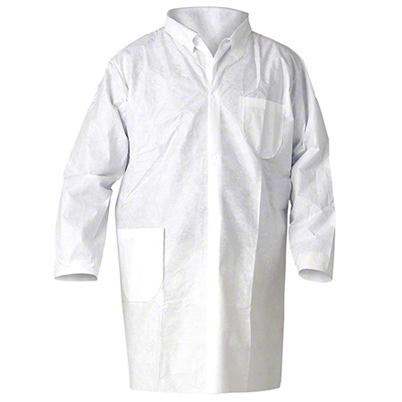 10019 KLEENGUARD LAB COATS,MED.WHITE, SNAP FRONT, 25/CS