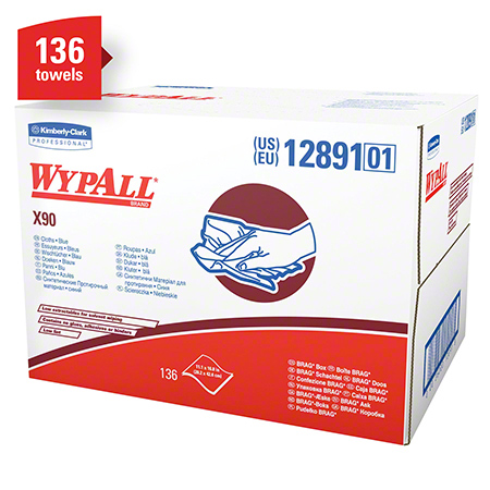 12891 WYPALL X90 CLOTHS, WHITE 11″ X 16.8″, 136SHEETS/CS