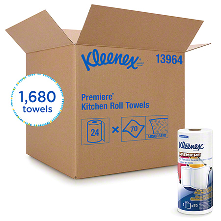 13964 KLEENEX PREMIERE KITCHEN TOWEL, 24RLS X 70SHTS/CS