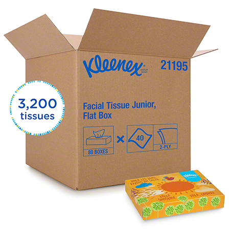 21195 JUNIOR KLEENEX TISSUE, 2 PLY, 48 BOXES X 65 SHEETS