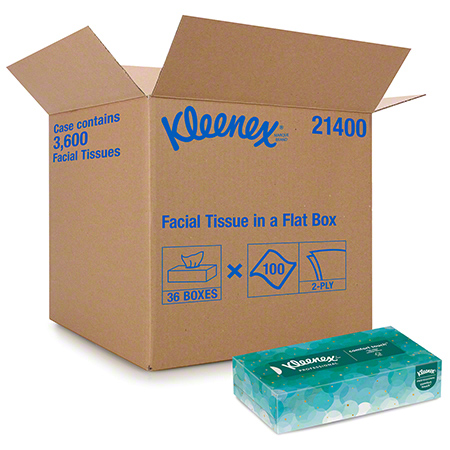 21400 KLEENEX FACIAL TISSUE 2 PLY 36 BOX X 100 SHEETS