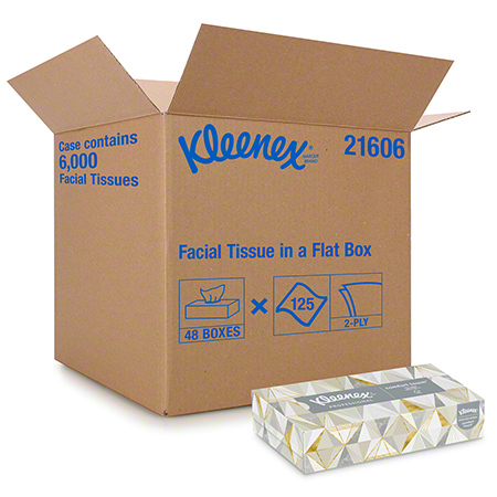 21606 KLEENEX FACIAL TISSUE 2 PLY, 48 BXS. X 125 SHEETS.