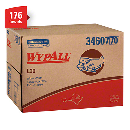 "34607 WYPALL L20 WIPERS WHITE 4 PLY 12.5"" X 16.8"" 176/CS BRAG BOX"