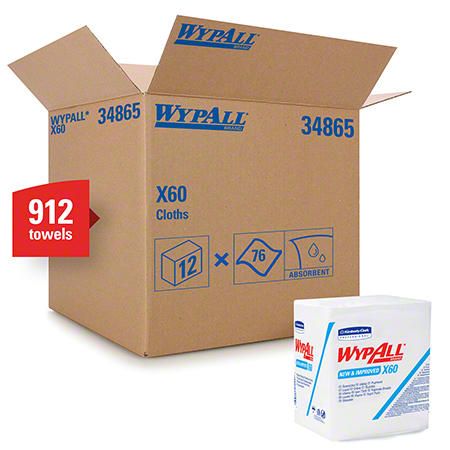 "34865 WYPALL X60 WIPERS WHITE 12.5 X 14.4"", 12 X 76/CS 1/4 FOLD"