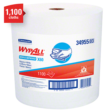 "34955 WYPALL X60 WIPERS WHITE 12.5X13.4"" JUMBO 1100 SHEETS"