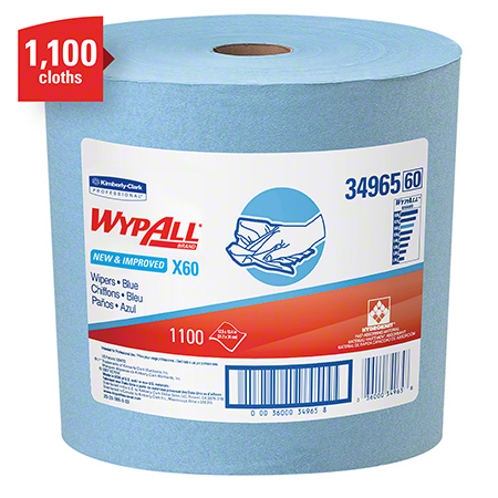 "34965 WYPALL X60 WIPERS BLUE 12.5"" X 13.4"" JUMBO ROLL 1100SHTS/RL (8 PER TIER)"