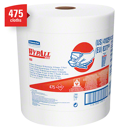 "41025 WYPALL X80 TOWELS WHITE 12.5X13.4"""" JUMBO ROLL 475 SHTS"