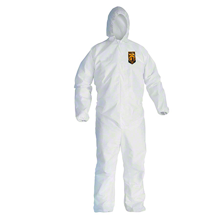 41505 A45 LARGE COVERALL, HOODED, ZIPPER FRONT, ELASTIC WRISTS/ANKLES, 25/CS