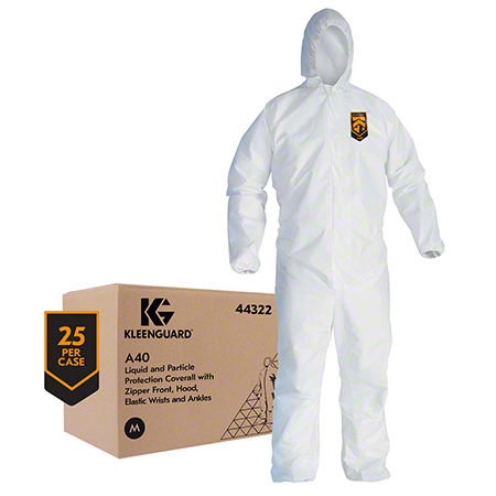 44323 LRG HOODED COVERALLS 25/CS WHT. ZIP FRONT, ELASTIC WR