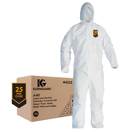44325 XXLG HOODED COVERALLS 25/CS WHT. ZIP FRONT, ELASTIC WR