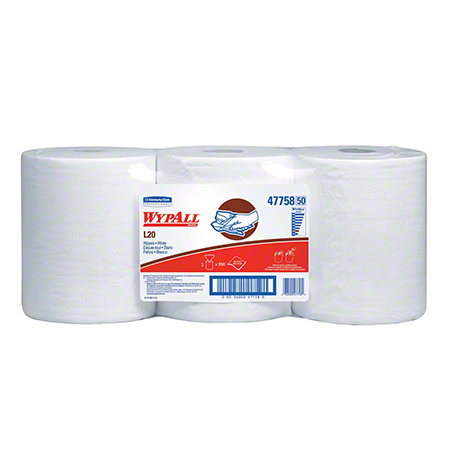 "47758 WYPALL L20 WHITE 2PLY 10 X 13.4"", 3RLS X 550' CENTER FLOW"