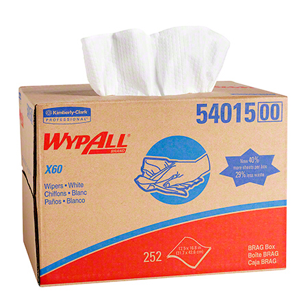 "54015 WYPALL X60 WIPERS WHITE 12.5"" X 16.8"" 252/CS BRAG BOX (Replaces WI0700)"