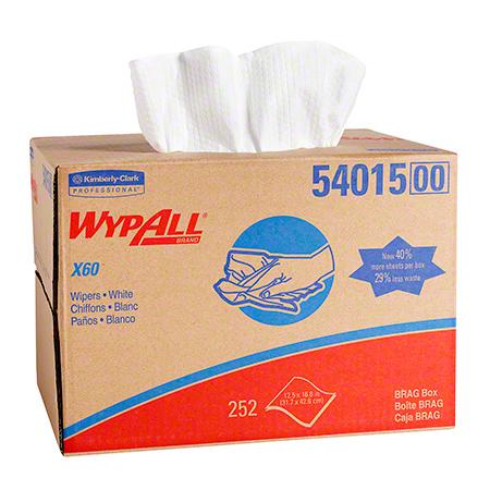 "54015 WYPALL X60 WIPERS WHITE 12.5"" X 16.8"" 252/CS BRAG BOX"