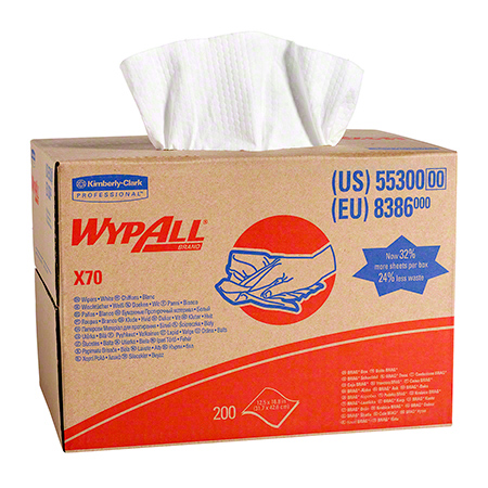 55300 WYPALL X70 WIPERS WHITE 200/CS, BRAG BOX
