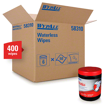 "58310 H.D WATERLESS HAND WIPES 10"" X 12"" (CANISTER) 50 X 8"