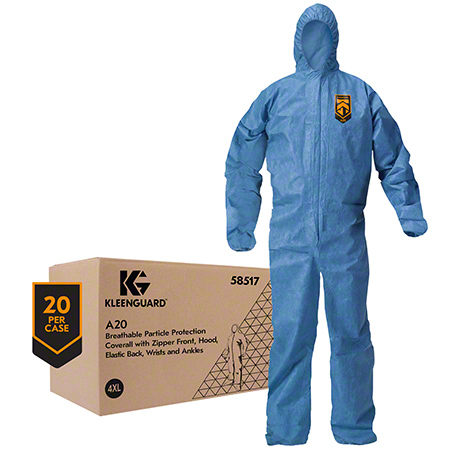 58517 A20 BLUE 4XL COVERALLS WITH HOOD, 20/CS