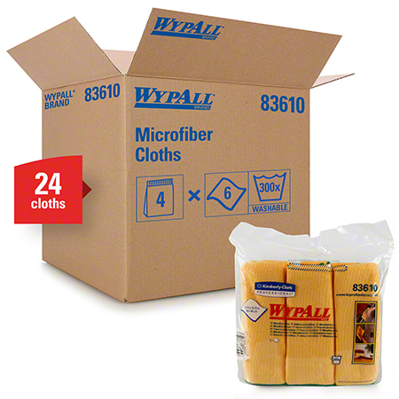 "83610 WYPALL MICROFIBER CLOTHS W/ MICROBAN PROTECTION YELLOW 15.75"" X 15.75"",4PKG X 6 EA/CS"