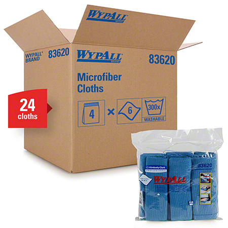 "83620 WYPALL MICROFIBER CLOTHS W/ MICROBAN PROTECTION BLUE 15.75"" X 15.75"",4PKG X 6 EA/CS"