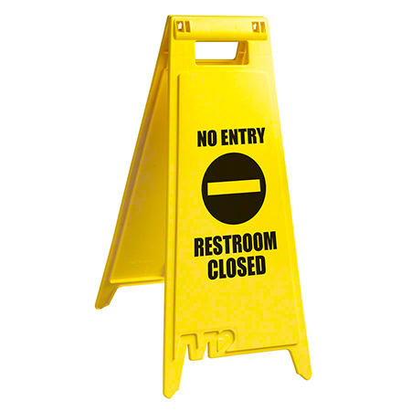 "WF-7008 FLOOR SIGN ""NO ENTRY RESTROOM CLOSED"" - ENGLISH"