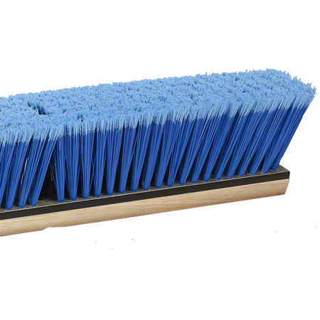 "PB-BT24 24"" BLUE FLAGGED TIP FIBRE PUSH BROOM WOOD BLOCK"
