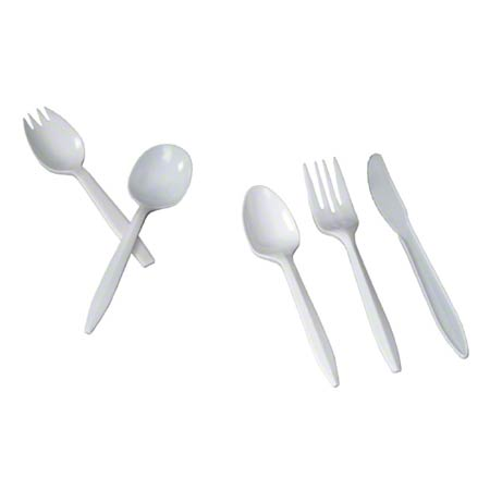 CUT4-TZW OR CSCUT4 SOUP SPOON MEDIUM WEIGHT POLYPROPOLENE WHITE 1000/CASE