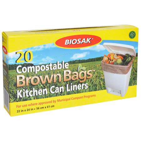 "050503 COMPOSTABLE BROWN BAGS 22""X 24"" 24X20 PER CS."