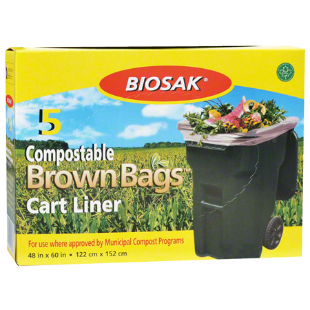 "051603B COMPOSTABLE BROWN BAGS 48""X60"" 20X5/CS"