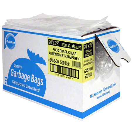 2485-00 35x50 XSTONG CLEAR CFIA APPROVED GARBAGE BAGS, 100/CASE