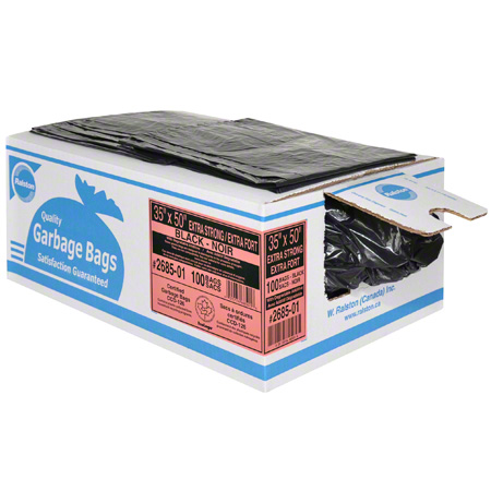 2697-01 42 X 48 SUPERSTRONG BLACK 50/CS RALSTON GARBAGE BAGS