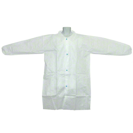 521-2XL RONCO CARE 2XL LABCOATS PP W 4 SNAP CLOSURE & ELASTIC WRISTS WHITE 50/CS