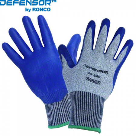 69-560-09 GLOVE DEFENSOR NITRILE PALM COATED THUMB CROTCH CUT LEVEL 5 LARGE(9) 6PR/BAG