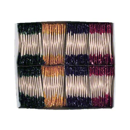 "80-160 CELLOPHANE TOOTHPICKS 3"" WOODEN FRILLED ASS'T COLOURS 1000/BX, 10 BX/CS FS0036"