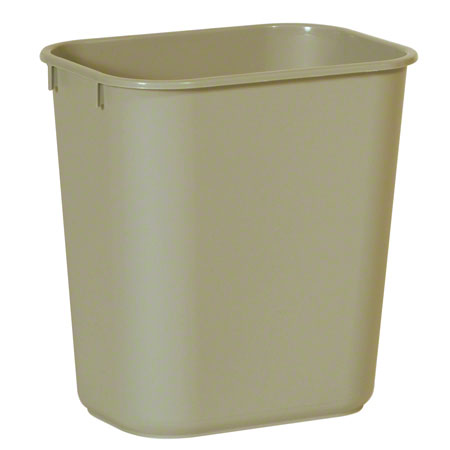 2955 BEIGE SMALL WASTE BASKET, 11 3/8 X 8 1/4 X 12 1/8