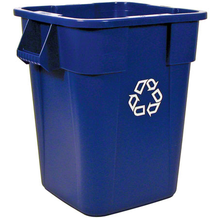 3536-73 BLUE RUBBERMAID SQUARE RECYCLING CONTAINER WITHOUT LID, BLUE