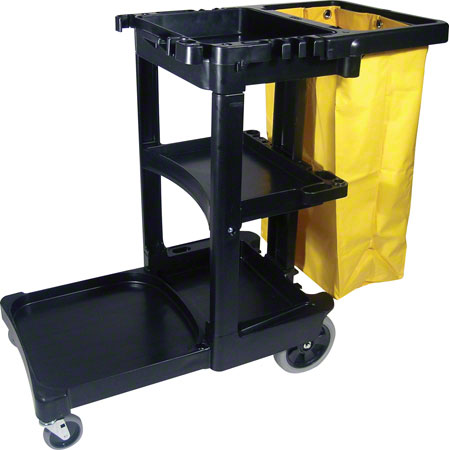FG617388BLA BLACK JANITOR'S CART WITH ZIPPERED VINYL BAG