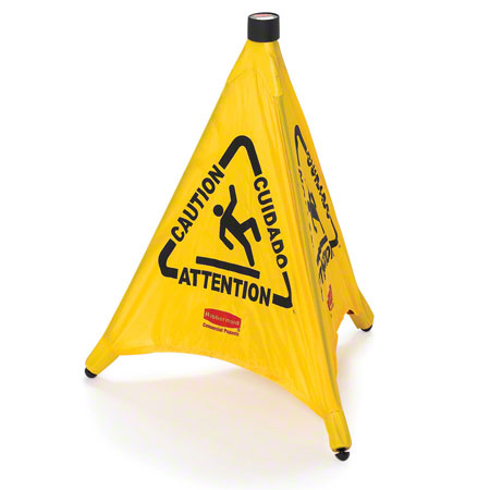 "FG9S0000YEL - RUBBERMAID POP-UP SAFETY CONE 20"" WITH MULTI-LINGUAL ""CAUTION"" AND WET FLOOR SYMBOL"