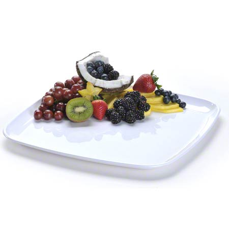 "2316 WHITE MOZAIK 16"" SQUARE PLATTER 25/CASE"