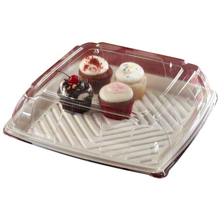"52912F025 12"" PET LID FOR SQUARE PULP PLATTER 25/CS"