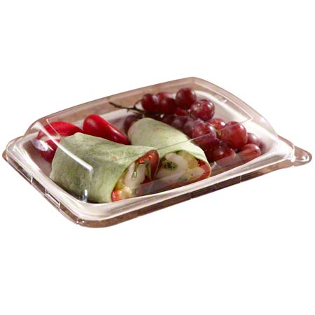 520608D300 SABERT CLEAR NATURAL LID SNACK TRAY 300/CS